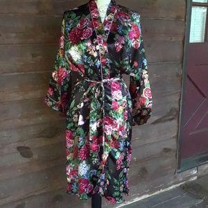 Floral kimono wrap bathrobe